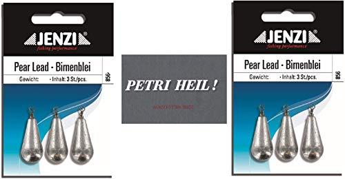 .Jenzi Set: 2 Packungen Birnenblei, 30 Gramm, 2 x 3 Stück,mit Wirbel/Öse .+ gratis Petri Heil! Aufkleber