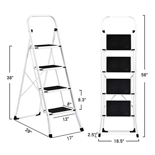 ACKO Folding 4 Step Ladder with Convenient Handgrip Anti-Slip Sturdy and Wide Pedal 300lbs Portable Steel Step Stool White and Black 4-Feet