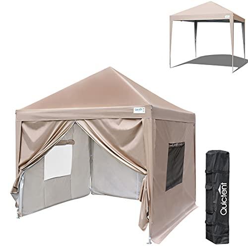 Quictent ワンタッチ タープテント 2.5m サイドシートセット 3段階調節 UVカット 耐水 スチール キャンプ アウトドア 耐水 テント キャンプ用品専用横幕/サイドシート4枚付属 一年使えるテント ワンタッチテント タープ 4枚サイドシート付 収納ケース