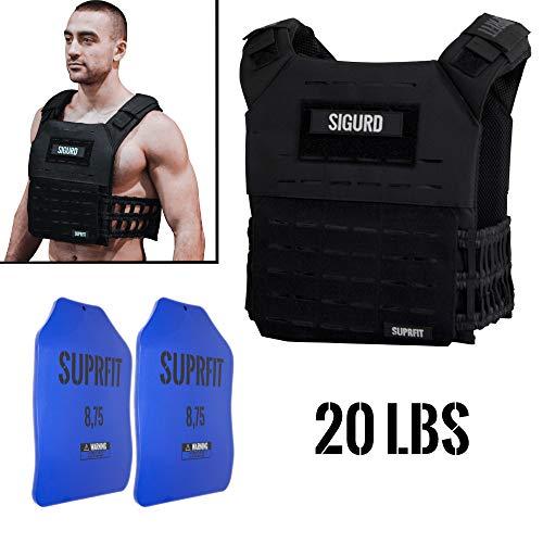 Suprfit Sigurd 3D Gewichtsweste Black - Basisgewicht: 1 kg, Zusatzgewicht: 2 x 4 kg (blau), Maximalgewicht: 17 kg, Farbe: Schwarz, Laufweste für Cross Training und Krafttraining, Unisex