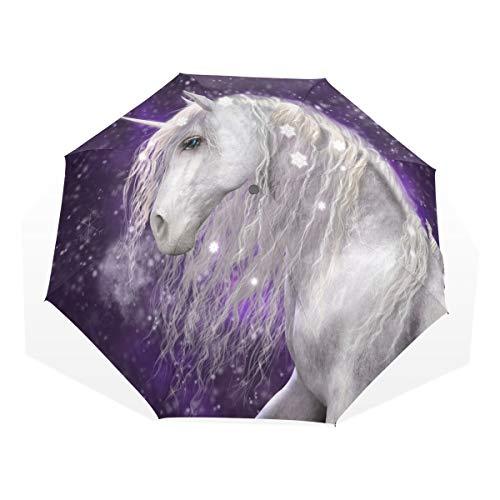 ISAOA Paraguas de Viaje automático, Paraguas Plegable para Nieve, Unicornio, Resistente al Viento, Ultra Ligero, protección UV, Mango Compacto para fácil Transporte para Mujeres y Hombres