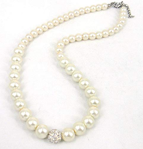 guodong Bola De Cristal Blanco Pavé De 10 Mm Y Collar De Perlas De Cristal Crema De 10 Mm Conjunto De Aretes De Pulsera Regalo del Día De La Madre
