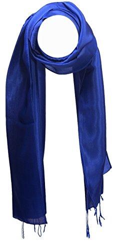 YSS Seidenschal 1 A Qualität Made in Thailand Einfarbig (30x163cm, Blau)