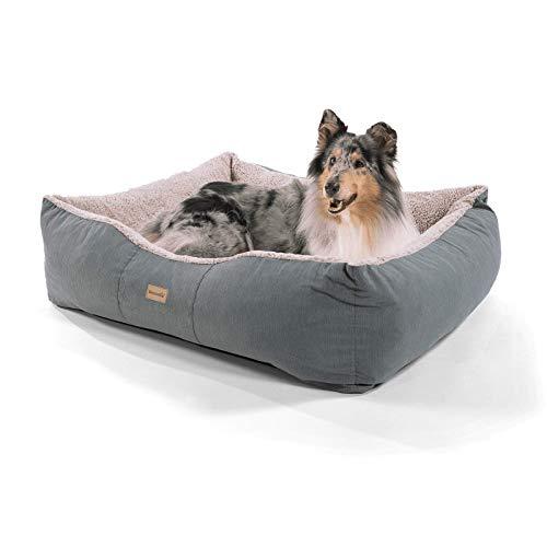 brunolie Emma großer Hundekorb in Braun, waschbar, hygienisch und rutschfest, luftiges Hundebett mit Kissen zum Kuscheln, Größe L (100 x 90 x 30 cm)