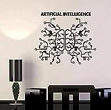 Stickers muraux PVC Stickers muraux mobiles Intelligence artificielle cerveau réseau neuronal technologie informatique bureau commercial décoration intérieure 42X36Cm