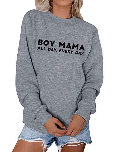 Dresswel Damen Boy Mama All Day Everyday Sweatshirt Mom Pullover Rundhals Langarmshirt Bluse Oberteile Pulli Top