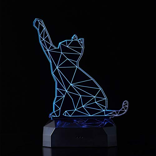 Sarsen&Co. LED Lampe mit Katze 3D Visualisierung Stimmungslicht Nachtlicht 16 Farben mit Fernbedingung + Akku Dekorative Idee für Familie