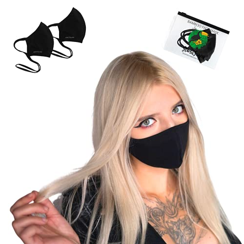 StarlitScapes (2 Black, Small) Adjustable Bamboo Face Masks | Breathable, Face fitting, Reusable, Washable & Soft Face Cover in a travel bag | Made in Costa Rica