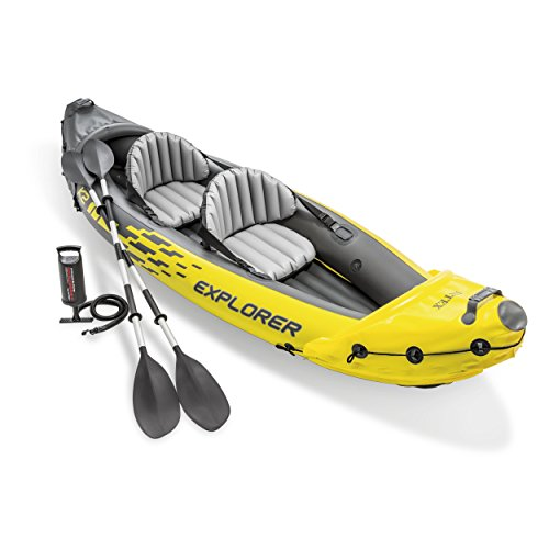 Intex Explorer K2 Kayak, Alluminio Oars And High Output Air 2-Person Kayak Gonfiabile, con Pompa