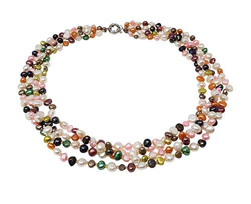 TreasureBay MultiColor Multi-strand Freshwater Pearl Twisted Necklace