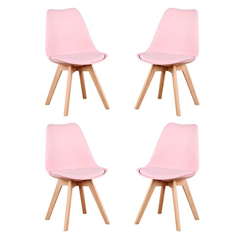 GroBKau 4er Set Esszimmerstühle, Gepolsterte Esszimmerstühle, Gepolsterter Sitz, Ergonomische Rückenlehne (Rosa)