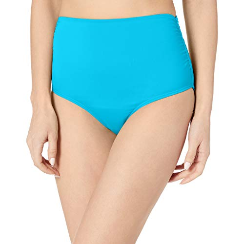 Anne Cole Women's High Waist to Fold Over Shirred Bikini Bottom Swimsuit, New Turquoise, X-Small