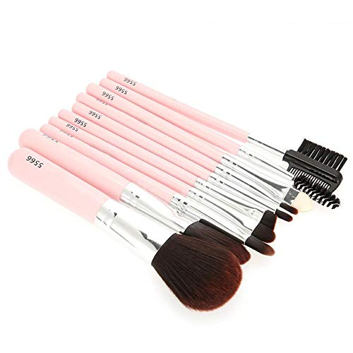 10 pezzi/set pennelli per trucco portatili, ombretto sintetico premium correttori fard per labbra correttori kit pennelli per fondotinta, strumenti per fondotinta correttori fard e ombretto(Rosa)