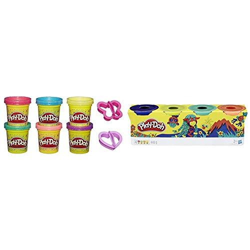 Play-Doh A5417EU8 Glitzerknete für fantasievolles und kreatives Spielen, Multicolor & 4er Pack WILD, Knete für fantasievolles und kreatives Spielen