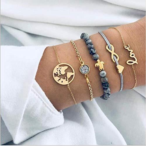 Cathercing 5er-Pack Armband Set für Frauen Mädchen Schmuck Armband Strand mit Perlen Schildkröte Boho-Armband Fußkettchen Set verstellbar handgefertigt täglicher Schmuck Geschenk für Teenager Mädchen
