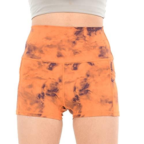 N\P Pantalones deportivos de cintura para mujer Desnudo duro tres pantalones, Tinte naranja, L