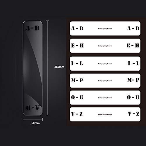 szlsl88 Classificatiekaart 6 stuks. Index CD-platenspeler transparant alfabet tab dag Praktisch A-Z muziek vinylooptekening verdeler acryl sorteerlabel (LPdwars)