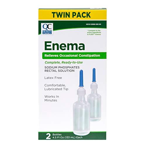 QC, Enema Sodium Phosphates Rectal Solution, Latex Free 2 Bottles