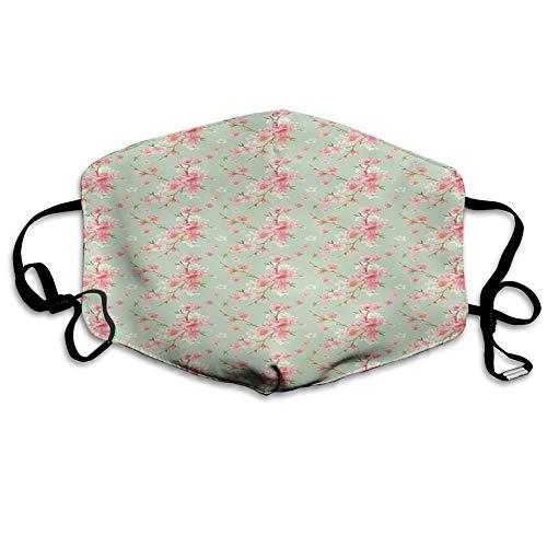 ComfortablePrintedmask,Shabby Flora, Retro Spring Blossom Flowers with French Garden Florets Garland Artisan Image,Mint Pink,WindproofFacialDecorationsforManandWoman 6