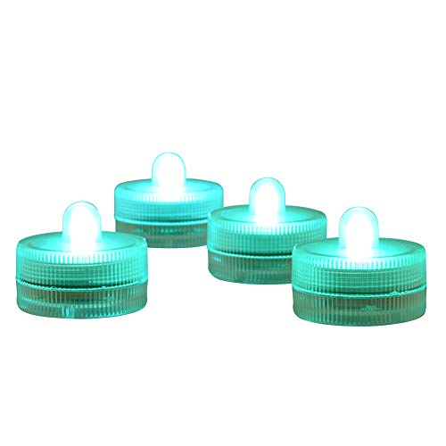 Submersible LED Light CR2032 Batteries Operated 3CM Decorative Lights Night Lights Waterproof Tea Lights for Wedding Party Holiday Centerpieces Decor,10-Pack (Teal)