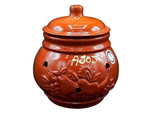 CERÁMICA RAMBLEÑA | Tarro para ajos | Ajero de Barro Rojo | Tarro de cerámica | Recipiente para ajos | Decoración 100% Hecho a Mano | 18x18x20 cm