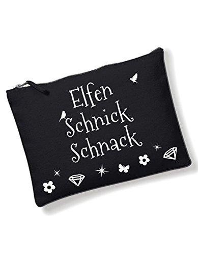 Kosmetiktasche Elfen Schnick Schnack mit coolem Spruch Kulturbeutel schwarz Make Up kleine Tasche von 3 Elfen