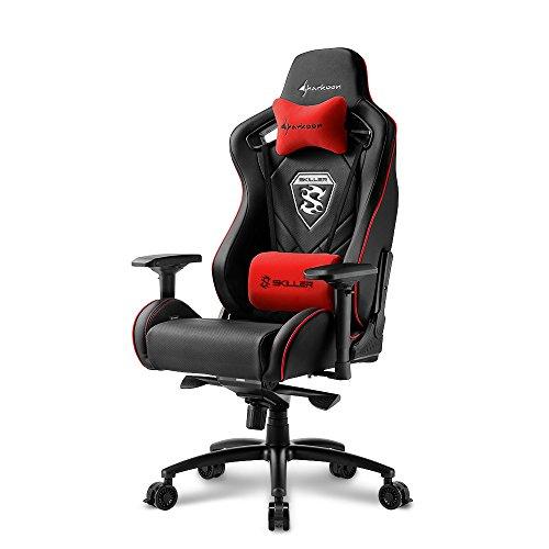 Sharkoon Skiller SGS4 Komfortabler Gaming-Stuhl (mit extragroßer Sitzfläche, 150kg belastbar, Kunstleder, Aluminiumfußkreuz, 75mm Rollen mit Bremsfunktion, 4-Wege-Armlehnen, Stahlrahmen) schwarz/rot