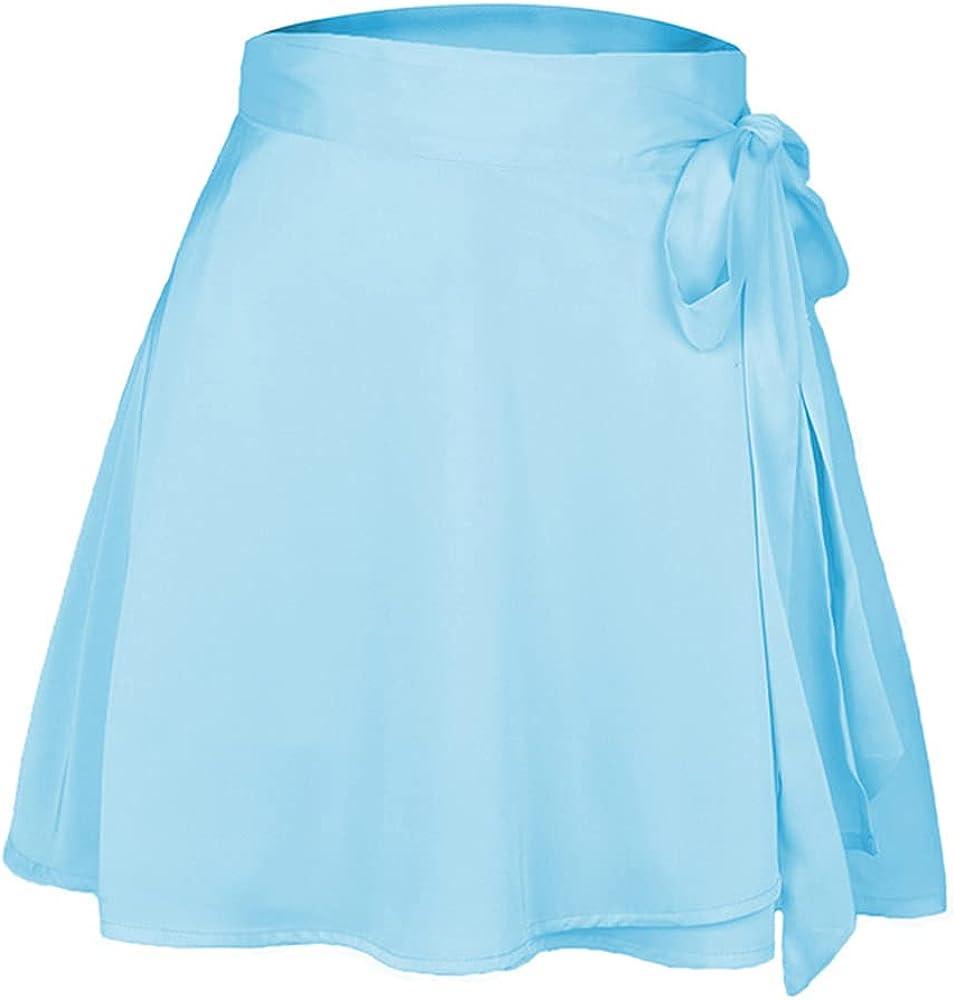 NP Summer Women Skirt Tall Waist Chiffon Satin wrap Skirt