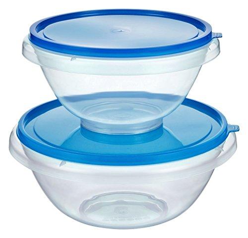 Kigima Hefeteigschüssel Rührschüssel Bowleschüssel Salatschüssel 2er Set 7l und 4,5l Blau