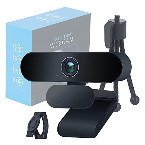 EVOCUS Webcam Pc con Microfono, Web Camera per Pc 1080p Full Hd con Treppiede per Telecamera Pc e Copri Webcam Gaming Inclusi, Webcam per Pc con Microfono Usb Premium