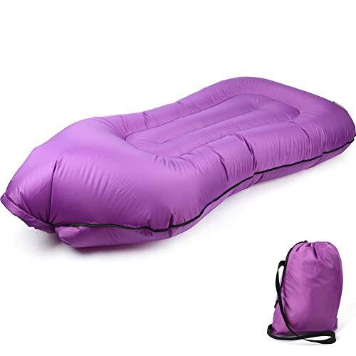 Pinsofy Saco de Dormir, Saco de Dormir Plegable Saco de Dormir Plegable Inflable Ligero y fácil de engrosar con diseño ergonómico para Dormir al Aire Libre(Purple)