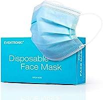 Eventronic Gesichtsmaske 50 Stück Dreischichtige Einweg-Schutzmaske Schutzmaske Atmungsaktive und komfortable elastische...