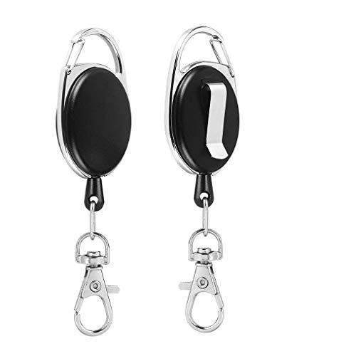 Guangcailun 2ST Retractable Schlüsselanhänger mit Reel Clip ABS-Kunststoff-Abzeichen-Halter-Schlüsselring mit Pull Gürtelclip