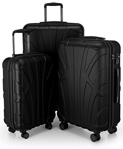 Suitline 3er Koffer-Set Trolley-Set Rollkoffer Hartschalen-Koffer Reisekoffer, TSA, (55 cm, 66 cm, 76 cm), 100{bef8dbc8d04eecfc109ebf777af0cabf76b5ec1f905747f652bb23781655b43b} ABS, Matt, Schwarz