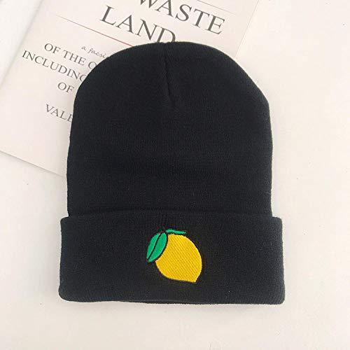 TIEDAN Sombrero de Punto Bordado Explosivo Gorra con Capucha de Invierno para Mujer Gorra de Tendencia callejera Talla única-limón_Talla única