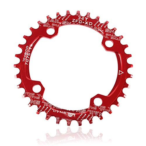 Single Speed Round Oval Chainring,104mm BCD 34T Narrow Wide Single Chainring Aluminum Alloy Narrow Chainrin for Mountain Bike Bicycle Red