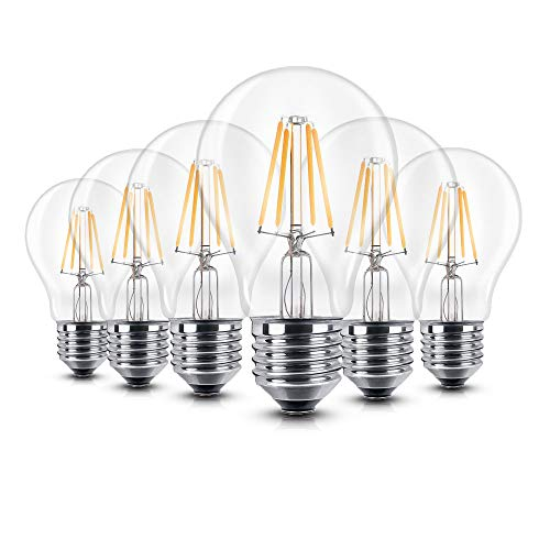 6er Pack LED Lampe E27 Glühbirne 6W dimmbare lampe, iGOKU filament E27 led Glühfaden Warmweiß leuchte led Birne, 360°Abstrahlwinkel LED birne 60W Entspricht Edison Lampe, 680 Lumen 2700K A++