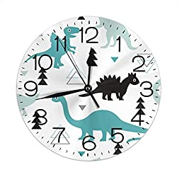 FEAIYEA Wall Clock Adorable Dinosaur Boys Decorative Wall Clock Silent Non Ticking - 9.8Inch Round Easy to Read Decorative for Home/Office/School Clock