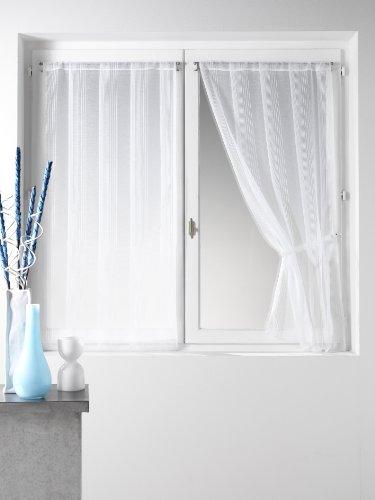 HomeMaison HM69813003 - Coppia di Tende in Poliestere, 60x160cm, Colore Bianco
