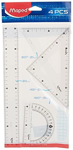 Kit Régua 30cm + Esquadros Escaleno 60° e Isósceles 45° + Transferidor 180°, Maped, Kit Essentials, 242830, Transparente