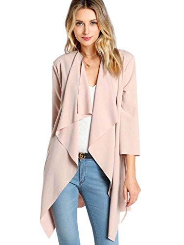ROMWE Damen Leicht Mantel mit Wasserfallkragen Kordel Tasche Locker Knielang Outwear Jacke Rosa M