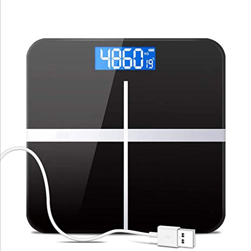 JKCKHA Escala electrónica Báscula Accurate Home Health, de carga USB peso adulto Escala Pérdida dispositivo de pesaje, vidrio templado, pantalla LCD, Grande 180 kg de capacidad, de alta precisión - Ne