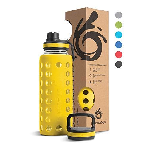 hydro2go® Trinkflasche aus Glas mit Silikonhülle 950 ml - spülmaschinenfest   2 auswechselbare Deckel   100% Auslaufsicher BPA-frei - Glasflasche für Smoothies, Büro, Fitness, Yoga, Sport & Outdoor