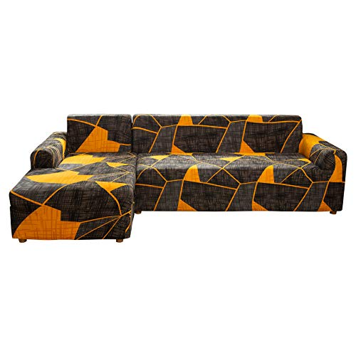 SearchI Fundas Sofá Elásticas Chaise Lougues,Cubre Sofa Chaise Longue Antideslizante Extraíbles y Lavables,Fundas Protetoras para Sofá en Forma de L 2 Piezas(Geometria3#,2 Plazas+2 Plazas)