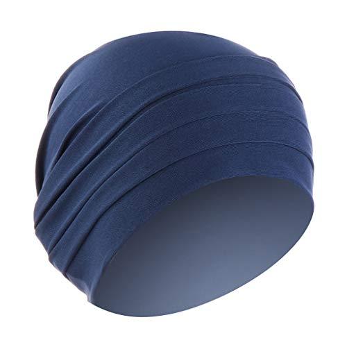 Lazzboy Frauen Herbst Winter Geraffte Warme Feste Muslimische Hut Beanie Wrap Scarf Cap Headwear Bambus Turban Kopftuch Damenturban Chemo-kopfbedeckung(Marine)
