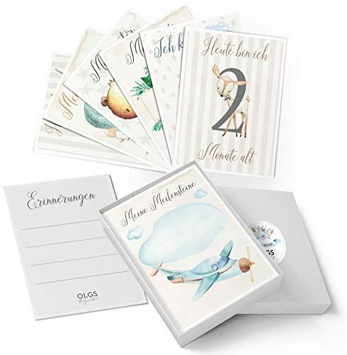 40+1 Baby Meilenstein Karten schöne Geschenkidee zur Geburt, Schwangerschaft, Taufe oder Babyparty Milestone Cards | Meilensteinkarten Geschenkset inkl. Geschenkbox für Junge