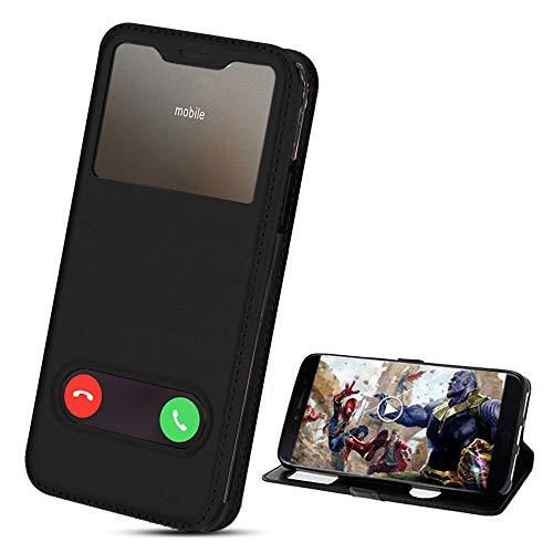 XCYYOO Flip Funda para Samsung Galaxy A10 Cubierta Proteccíon con Cierre Magnético, Función de Suporte y 2 Ventanas- View Case Cover Carcasa,Negro
