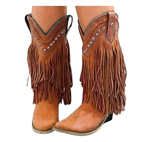 Dasongff Botas de cowboy para mujer, con flecos, hasta la rodilla, botines planos, cálidos, vintage, largos, de invierno, para la nieve, otoño e invierno