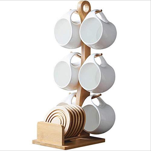 ROOPE Kaffeetassen-Set aus feinem Porzellan, kreative britische Keramiktasse und Untertasse mit Ablage, 6-teilig