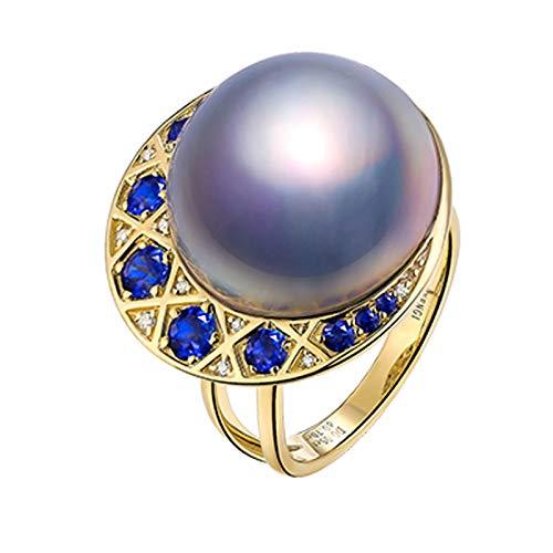 ANAZOZ Echtschmuck Damen Ring 18 Karat Gelbgold Mond Perle Vintage Ringe für Frauen 17-18Mm Meerwasserperle Verlobungsring Ehering Saphir Ringe Größe 53 (16.9)